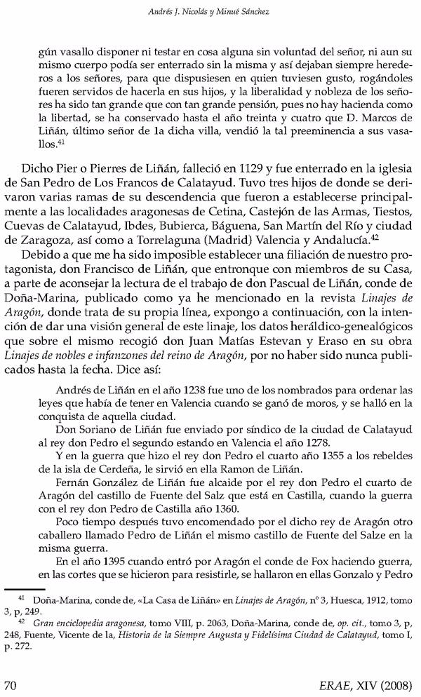 """Página 70 del artículo """"Capillas y panteones familiares de la Seo del Salvador (Zaragoza)""""  de Andrés J. Nicolás-Minué Sánchez donde describe el origen del apellido Liñán."""