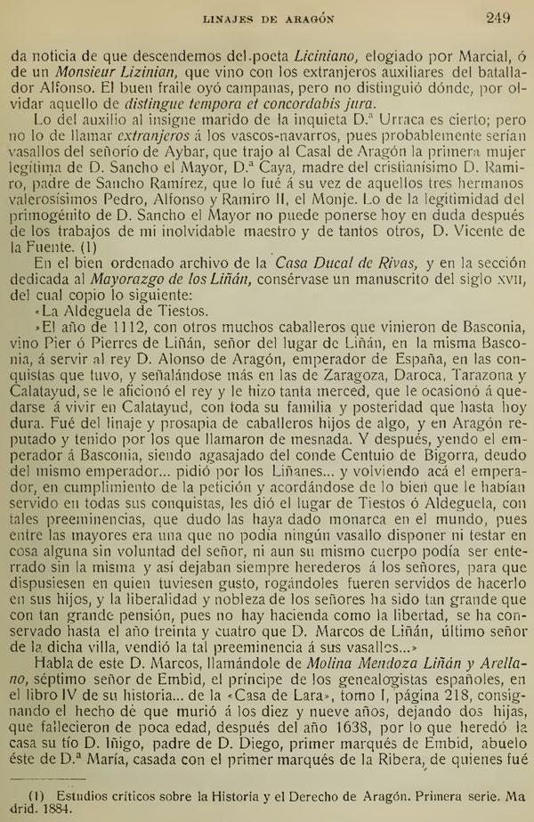 """Página 249 del artículo """"La casa de Liñán. Linajes de Aragón. Conde de Doña Marina. Pg. 247-254"""