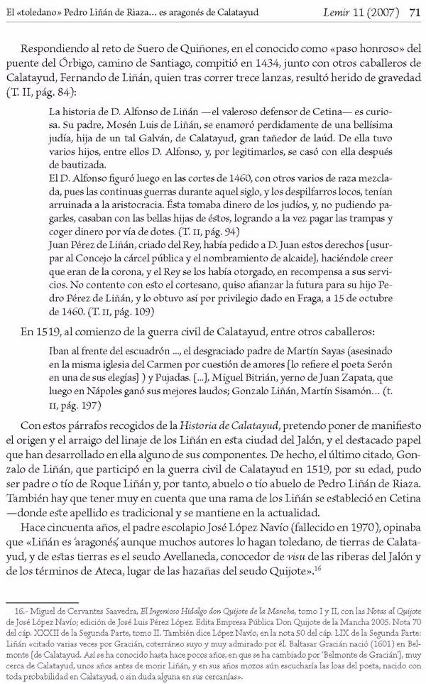 """Página 71 del artículo """"El «toledano» Pedro Liñán de Riaza —candidato a  sustituir a Avellaneda- es aragonés, de Calatayud"""" de Antonio Sánchez Portero [9]."""