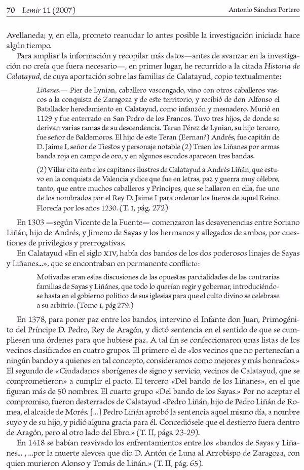 """Página 70 del artículo """"El «toledano» Pedro Liñán de Riaza —candidato a  sustituir a Avellaneda- es aragonés, de Calatayud"""" de Antonio Sánchez Portero [9]."""